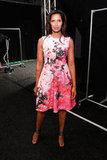Padma Lakshmi put a pretty pink floral spin on her front-row ensemble at Monique Lhuillier.