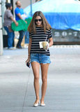 In what is surely our favourite off-duty summer-style look, Olivia Palermo worked denim cut-offs with a classic striped tee and beige ballet flats. Pared-back perfection.