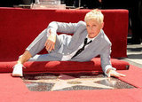 Ellen DeGeneres posed on the Hollywood Walk of Fame.