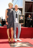 Ellen DeGeneres and Portia de Rossi posed for photos on the Hollywood Walk of Fame.