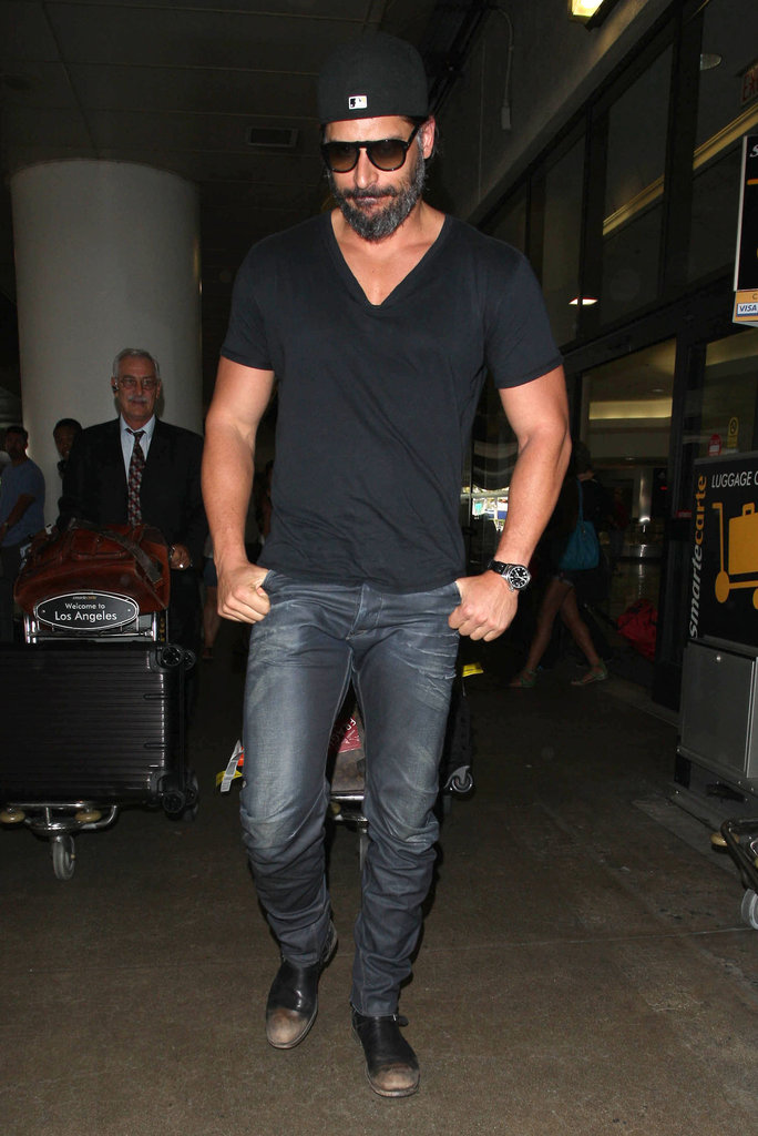 Joe Manganiello landed back in LA looking casual.