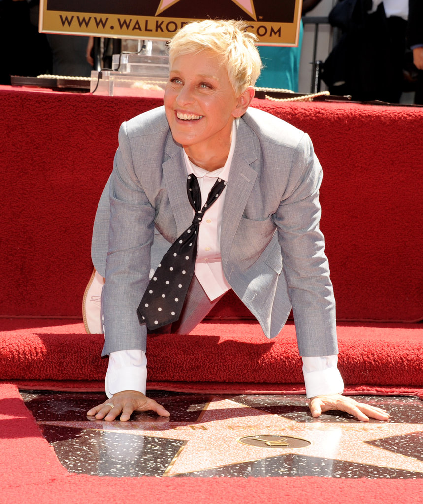 Ellen DeGeneres was all smiles with her star.