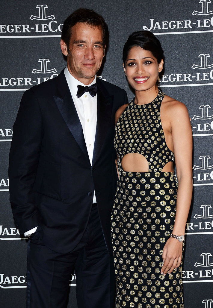 Freida Pinto and Clive Owen smiled together at the Jaeger-LeCoultre party in 2012.