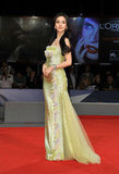 Angelababy hit the red carpet in a shimmery lime green gown by Georges Chakra Couture.
