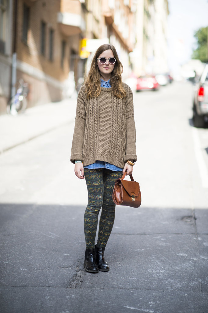 Quirky shades and printed leggings give Fall classics an unexpected finish. Source: Adam Katz Sinding