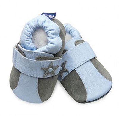 Sky-Gray Stars Classic Boys Soft Sole ($17)