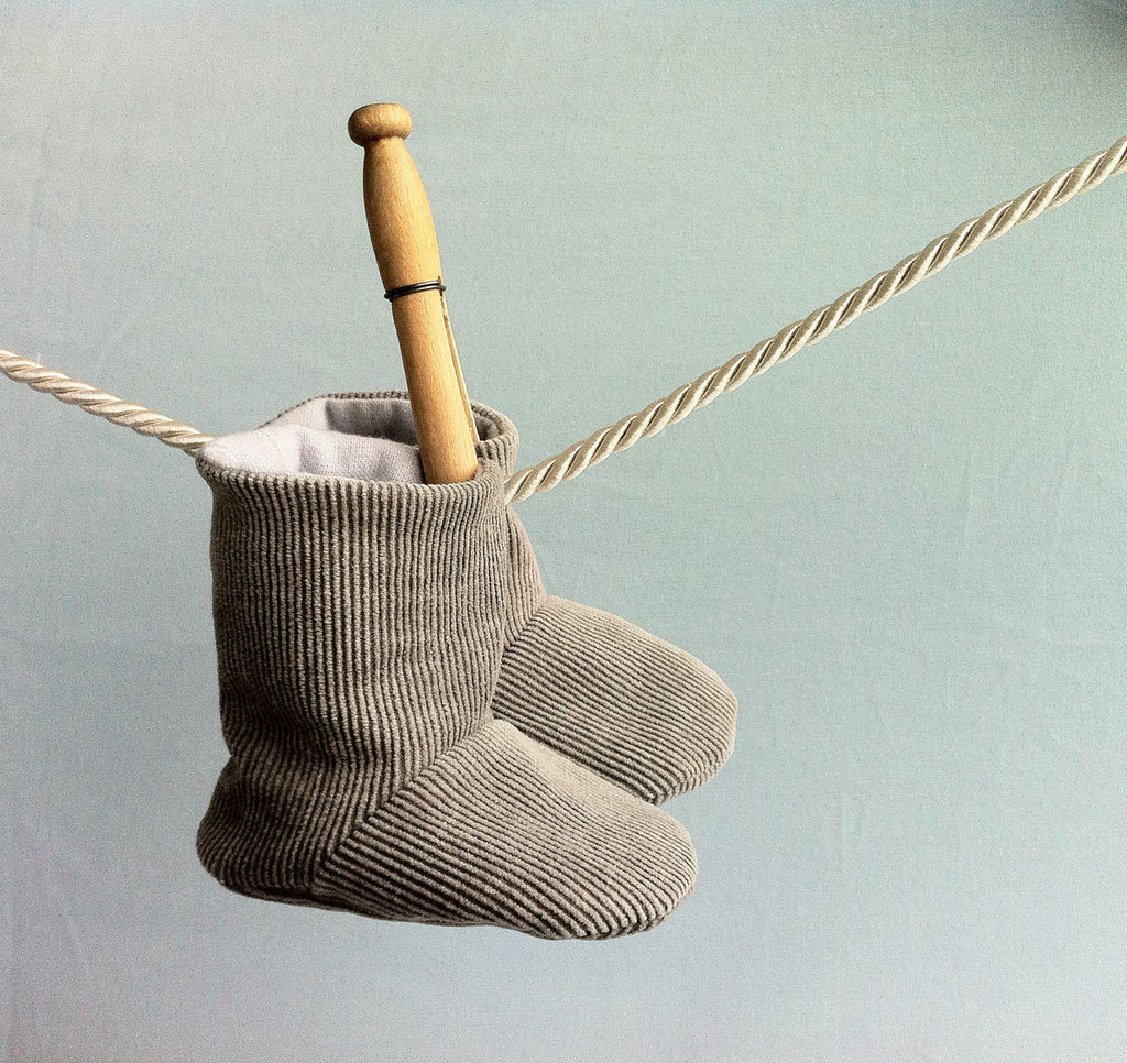 Gray Corduroy Baby Booties ($18)