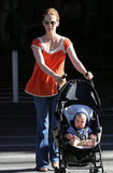 January Jones took her little man, Xander, for a stroll around LA.