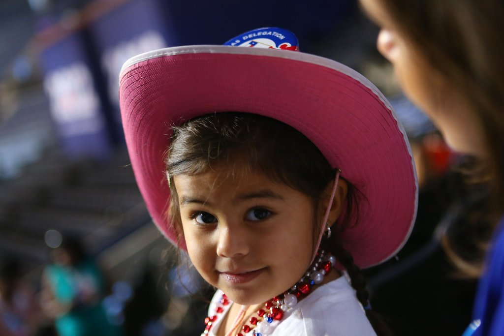 A girl was too cute in her cowboy hat at the DNC.