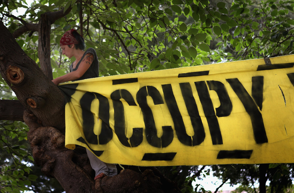 A woman took part in the Occupy Wall Street demonstration in Charlotte.