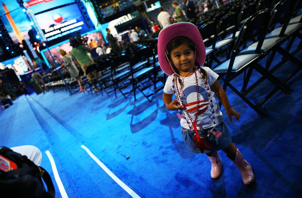 A little girl dressed for the occasion at the DNC.