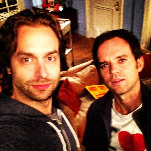 Chris D'Elia clowned around in Alex and Whitney's bedroom on the set of Whitney. Source: Instagram user chrisdelia