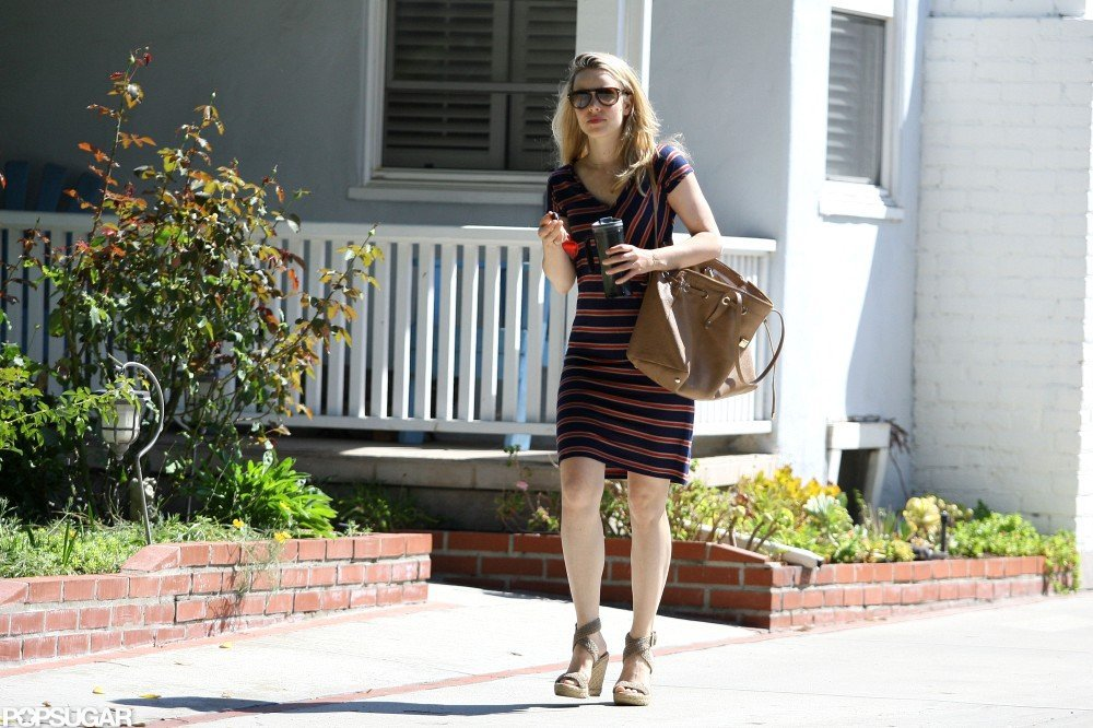 Rachel McAdams wore a striped dress to visit a friend in LA.