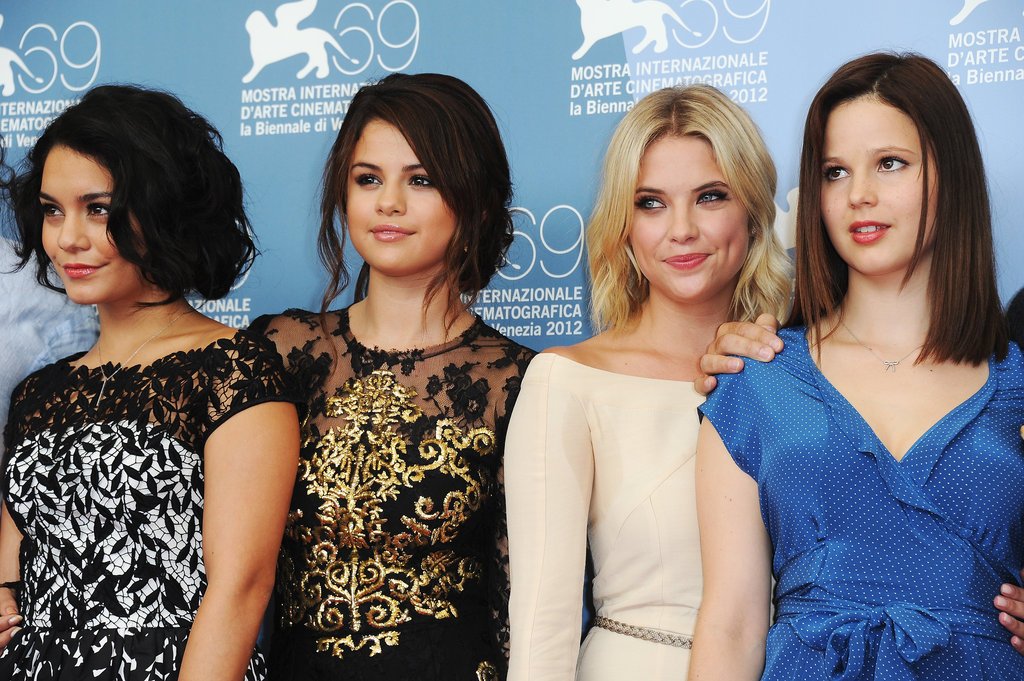 Spring Breakers costars Selena Gomez, Vanessa Hudgens, Rachel Korine, and Ashley Benson got together at the Venice Film Festival.