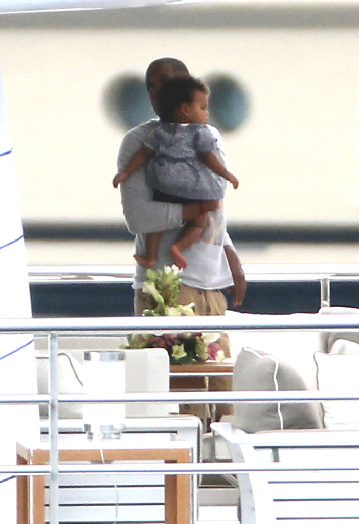 Jay-Z held Blue on a yacht.