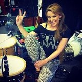 Kylie Minogue took a break from rehearsing with her band. Source: Twitter user kylieminogue