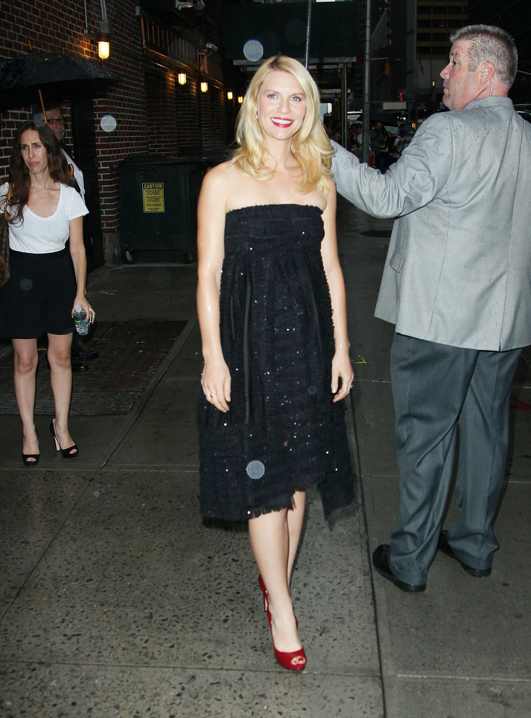 Claire Danes posed on her way into Late Show With David Letterman.