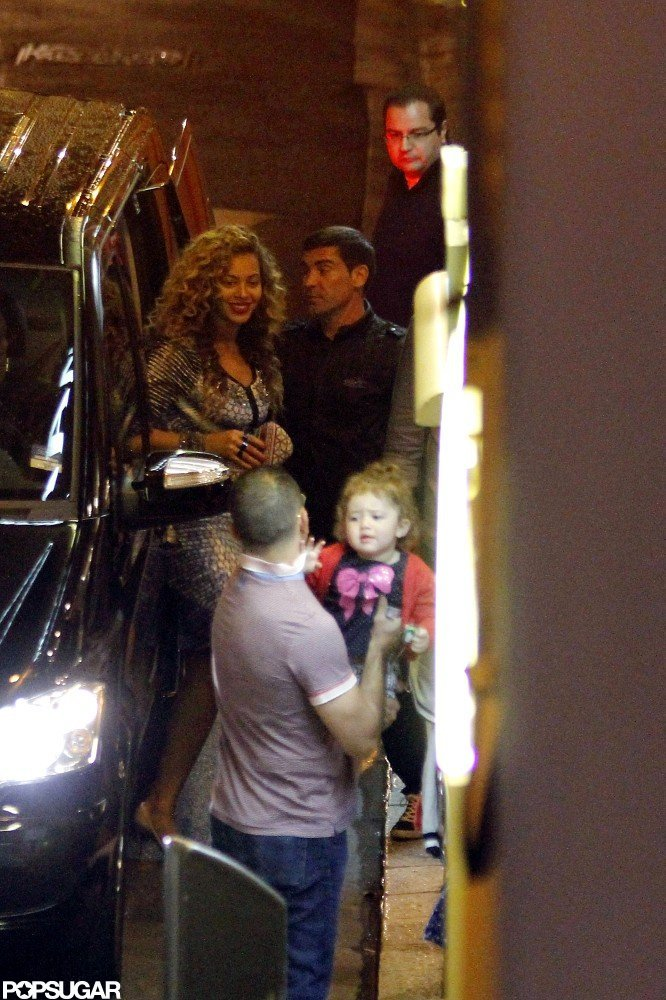 Beyonce Knowles hopped out of an SUV.