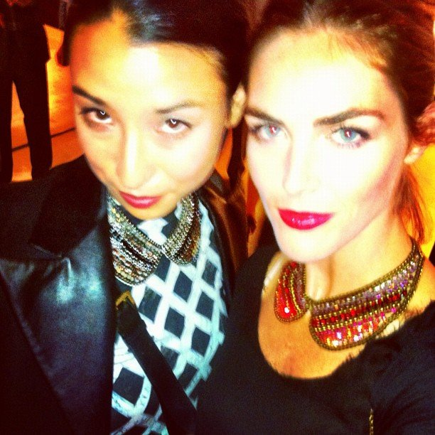 Lily Kwong and Hilary Rhoda at Ferragamo