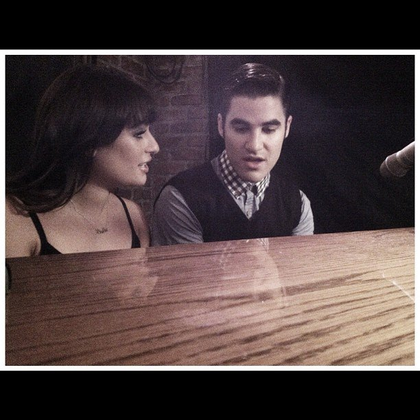 Lea Michele and Darren Criss did a little duet at the piano for Glee. Source: Instagram user msleamichele