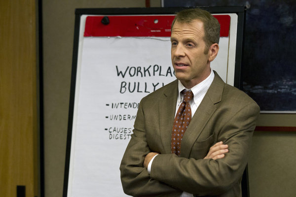 Toby (Paul Lieberstein) gives another lecture; good thing Michael isn't there to interrupt anymore.