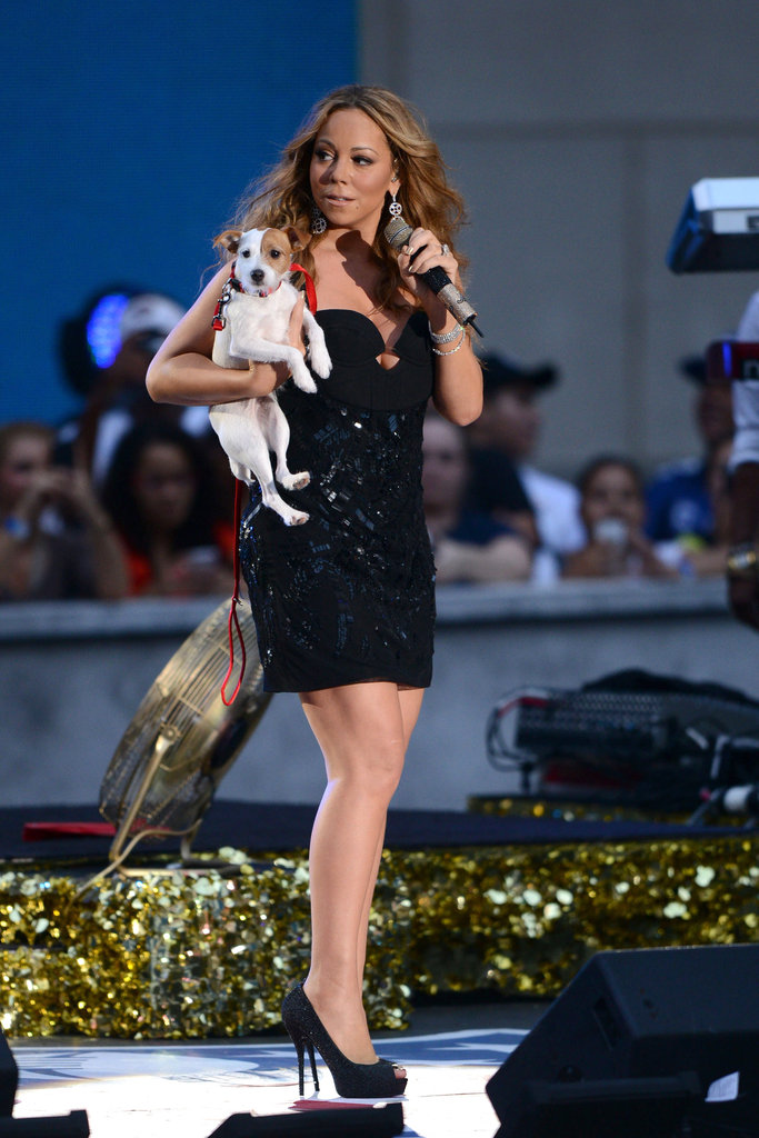 Mariah Carey's dog joined her on stage for the NFL Kickoff concert in NYC.