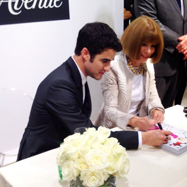 Anna Wintour and Darren Criss signed copies of Vogue for Fashion's Night Out. Source: Instagram user s5a