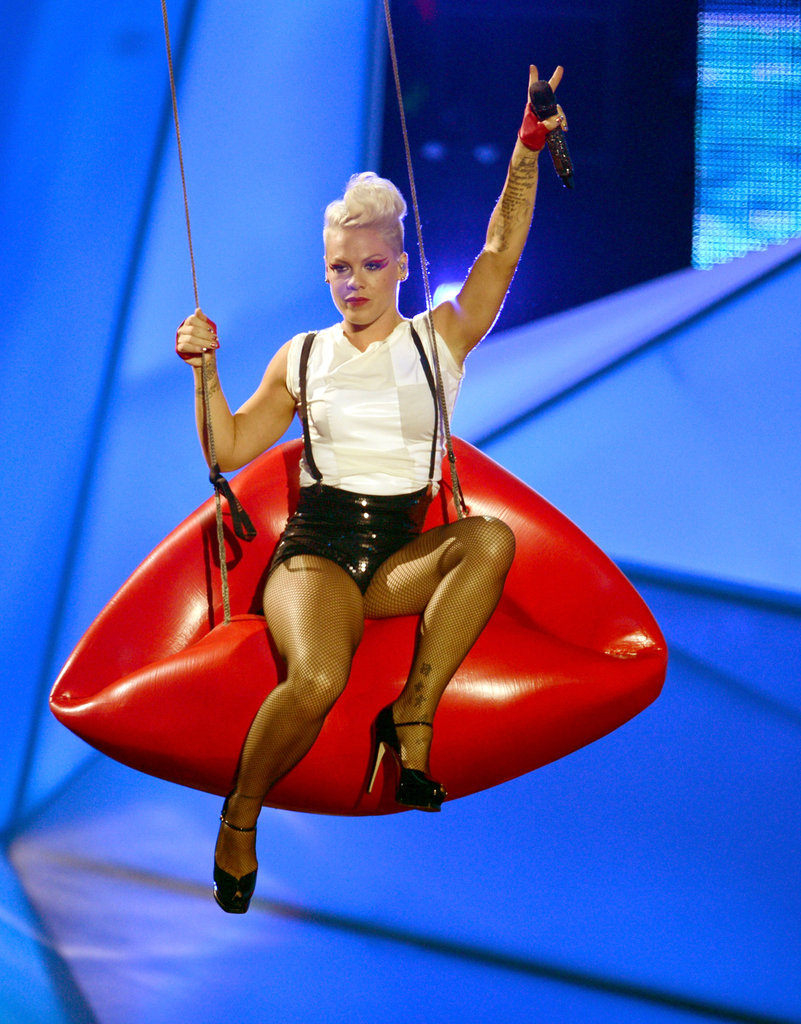 Pink swung on a pair of lips during her performance.
