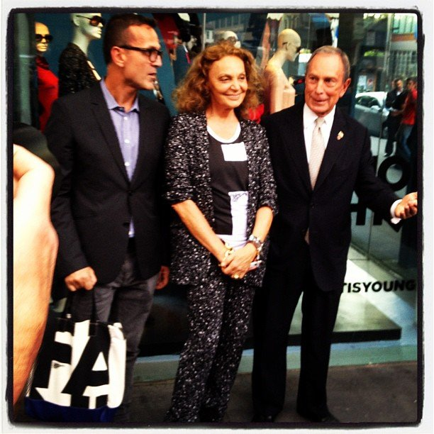 Diane von Furstenberg was joined by NYC's Mayor Bloomberg to kick off Fashion's Night Out. Source: Instagram user cfda