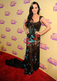 Katy Perry went sheer in an Elie Saab gown on the red carpet at the September 2012 MTV Video Music Awards in LA.