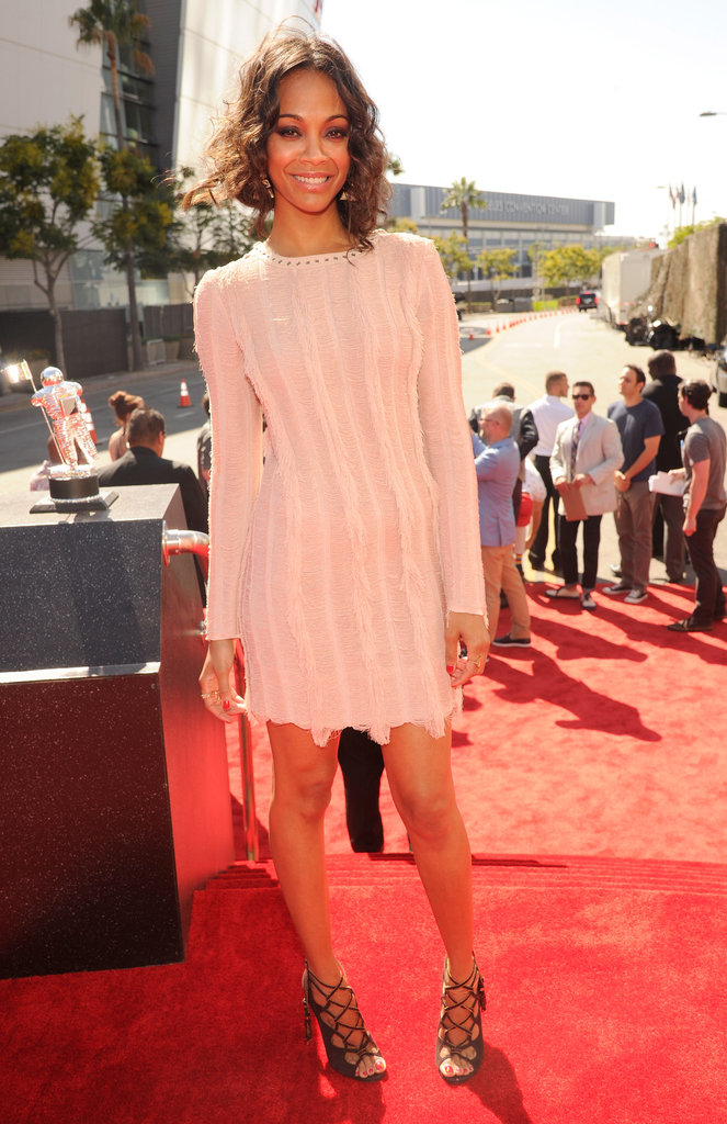 Zoe Saldana rocked a Salvatore Ferragamo dress.