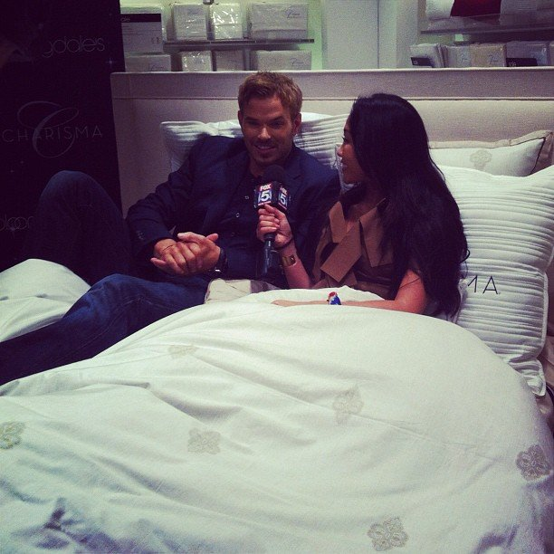 Kellan Lutz got comfy at Bloomingdale's for Fashion's Night Out. Source: Instagram user bloomingdales