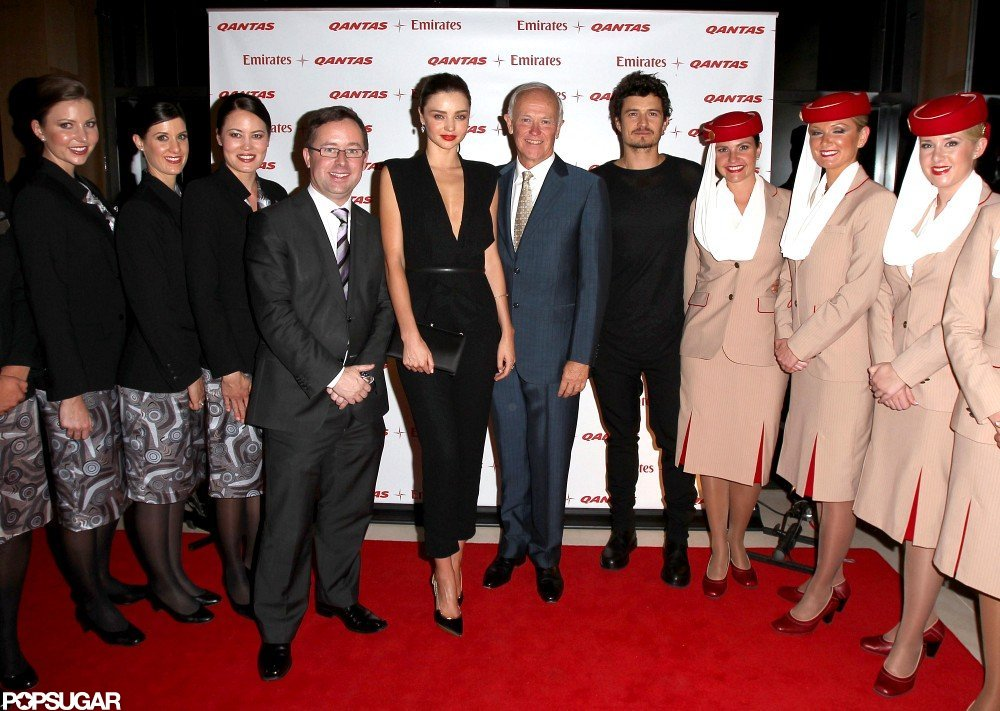 Miranda Kerr and Orlando Bloom took to the red carpet at the Quantas-Emirates launch party.