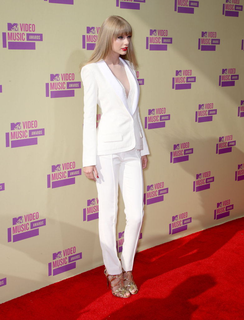 Taylor Swift stepped onto the red carpet in a white suit at the VMAs.