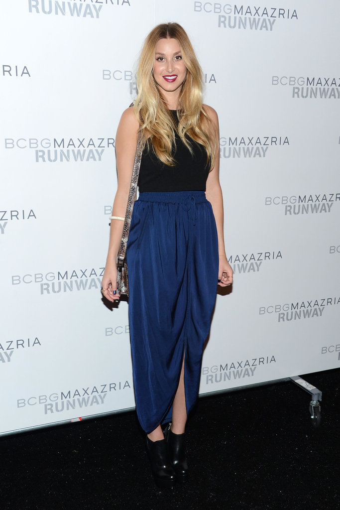 Whitney Port stepped out in a brilliant blue maxi skirt — and bright red lip — for BCBG Max Azria.