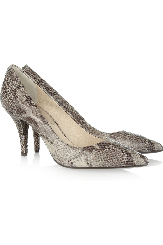 A little exotic texture goes a long way in amping up a pair of ankle-cuffed trousers and a crewneck sweater for a dressed-down day at the office.  Michael Michael Kors Snake-Effect Leather Pumps ($110)