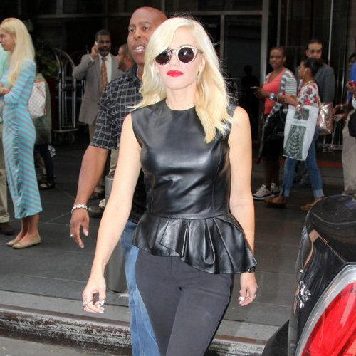 Gwen Stefani Wearing Leather Peplum Top