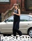 Gisele Bundchen donned baggy pants on her walk home from the gym.