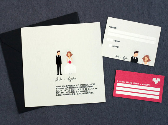 """Pixel That"" Wedding Invitations ($46)"