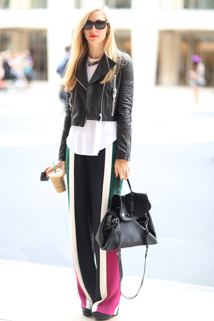 Joanna Hillman toughened up a pair of breezy colorblock pants with a leather jacket.