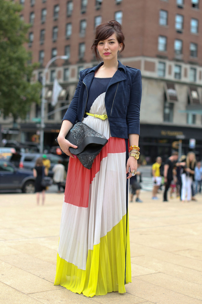 Making the case for colorblock with a swishy maxi skirt and suede jacket.