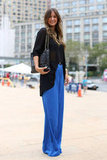 Wide-leg pants are a sleek silhouette for Fall, especially when done in a bold hue.