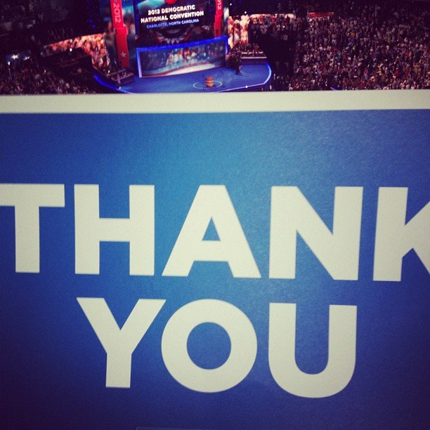 They did a moving thank-you tribute to the troops at the DNC complete with special signage.