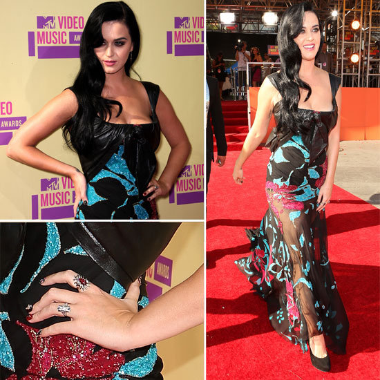 Pictures of Katy Perry in Floral Elie Saab Dress on the Red Carpet at the 2012 MTV Video Music Awards