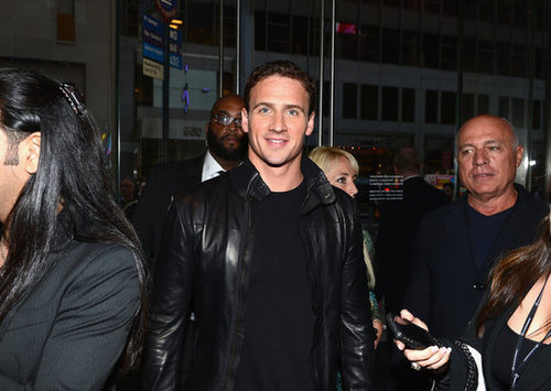 Ryan Lochte sported a leather jacket.