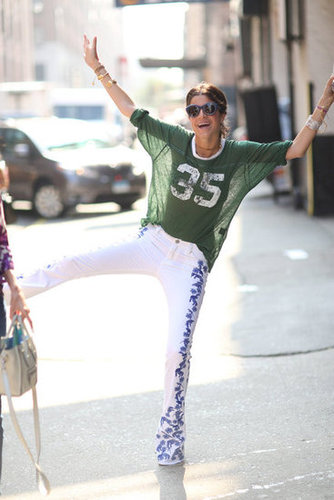 Leandra Medine showed off her printed pants and sporty Isabel Marant tee. Source: Greg Kessler