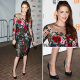 """Kristen Stewart came out of """"hiding"""" — in a floral-embroidered Zuhair Murad dress! See it from all angles here."""