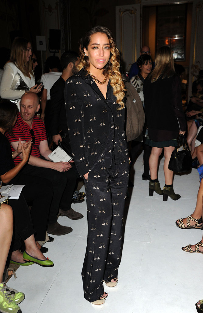 Delilah chose a black jumpsuit for the Fashion East show.