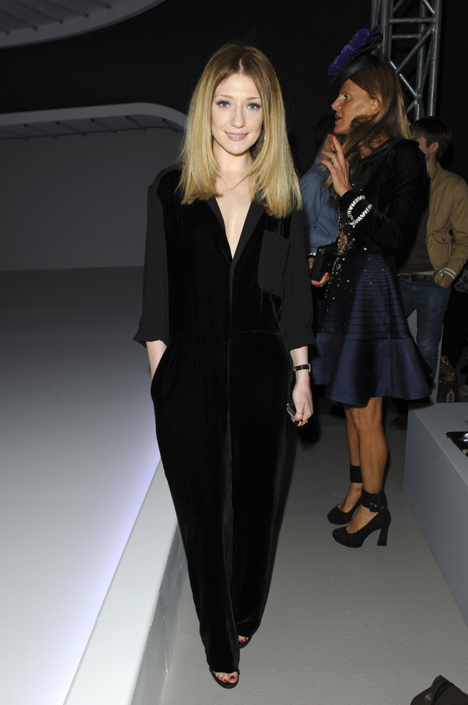 Nicola Roberts went with a velvet jumpsuit for Topshop Unique.