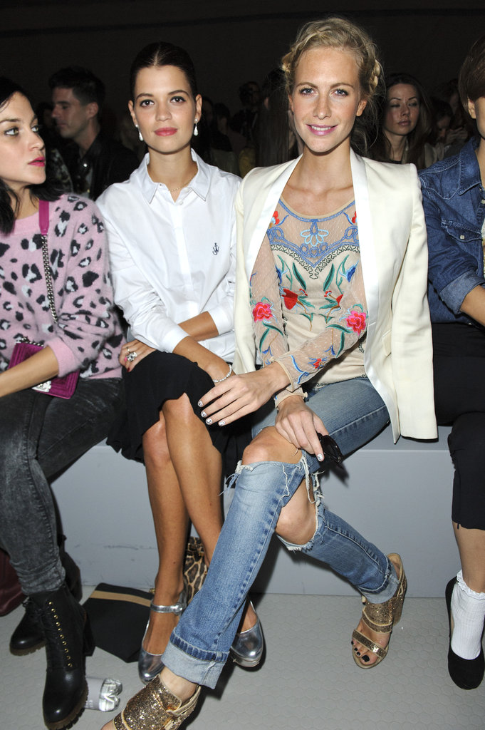Leigh Lezark sat with Pixie Geldof and Poppy Delevingne at Topshop Unique.